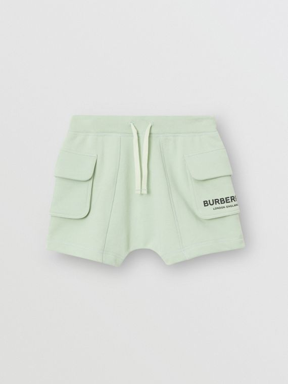 Logo Print Cotton Drawcord Shorts in Pale Mint