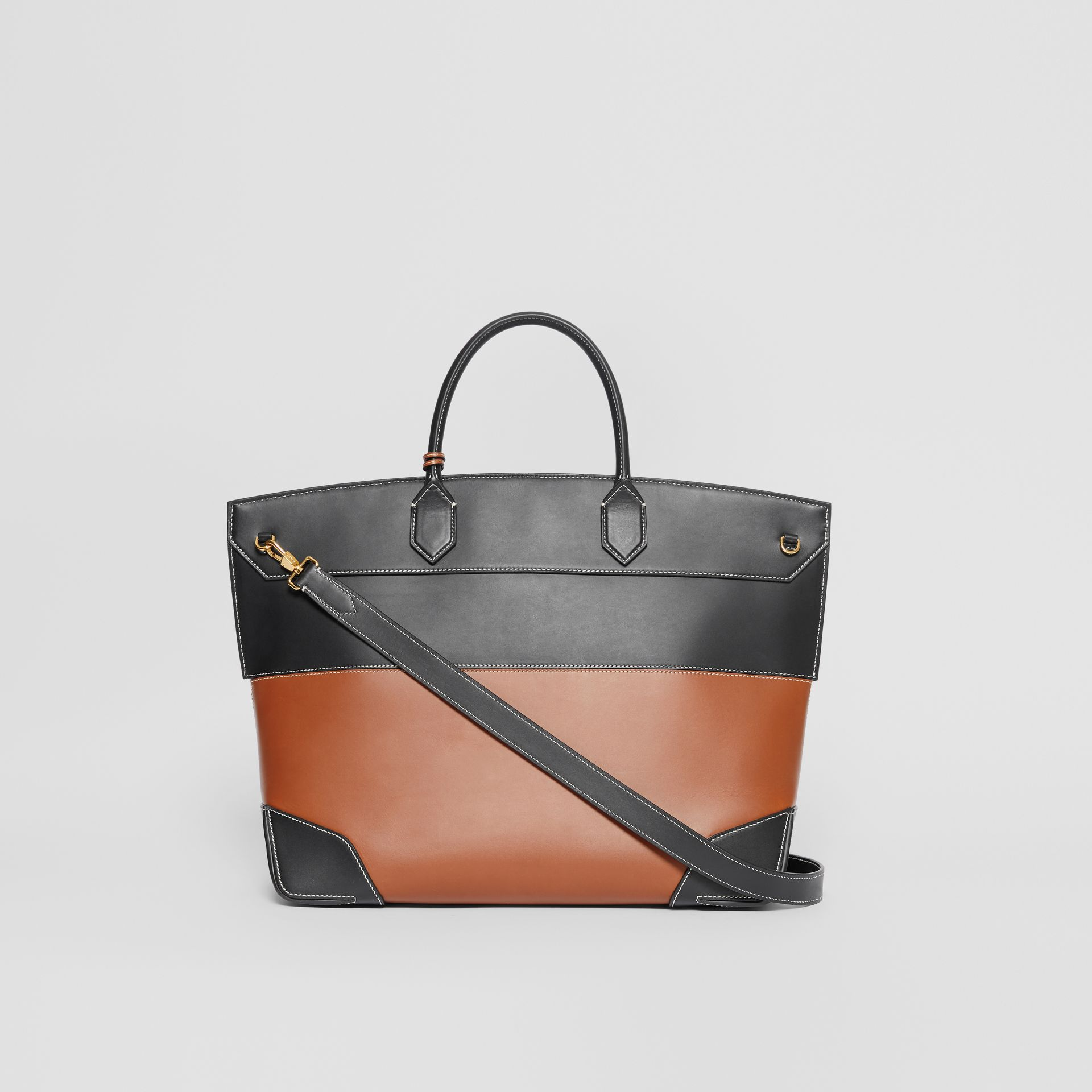 Tri-tone Leather and Canvas Society Top Handle Bag in Tan/black - Women | Burberry - gallery image 5