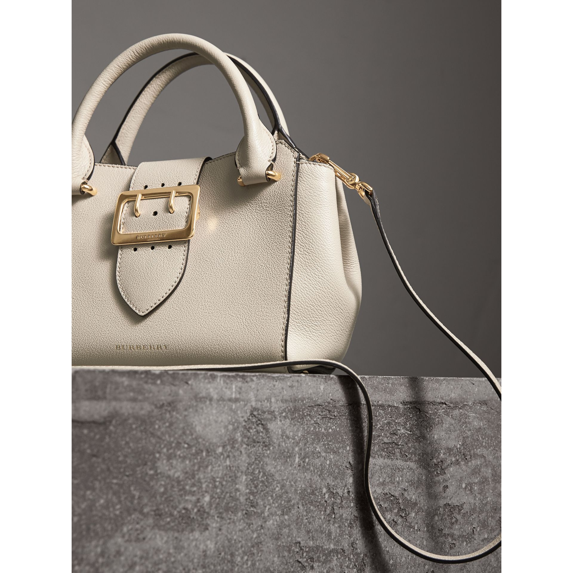 The Small Buckle Tote in Grainy Leather in Limestone - Women | Burberry United Kingdom - gallery image 7