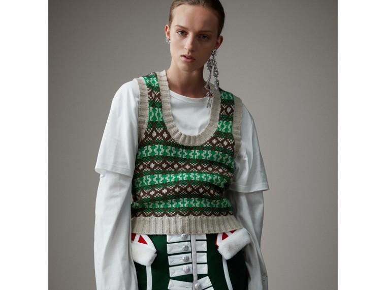 Pullunder aus Kaschmir und Wolle im Fair Isle-Design (Hellgrün) - Damen | Burberry - cell image 4