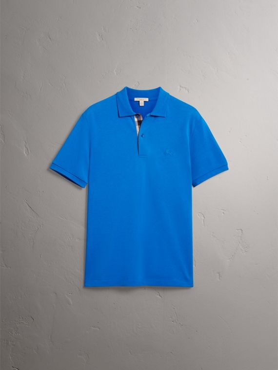 Check Placket Cotton Piqué Polo Shirt in Bright Opal - Men | Burberry Singapore - cell image 3