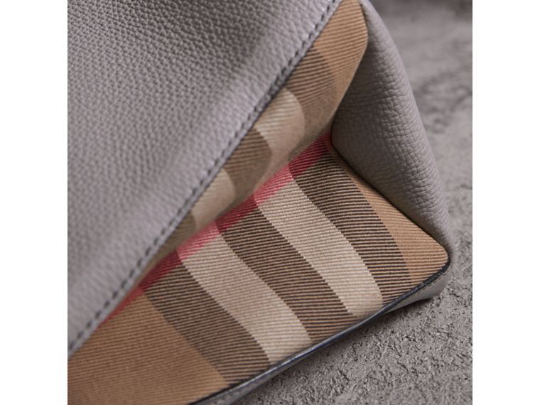 The Medium Banner in Leather and House Check in Light Grey Melange - Women | Burberry - cell image 1