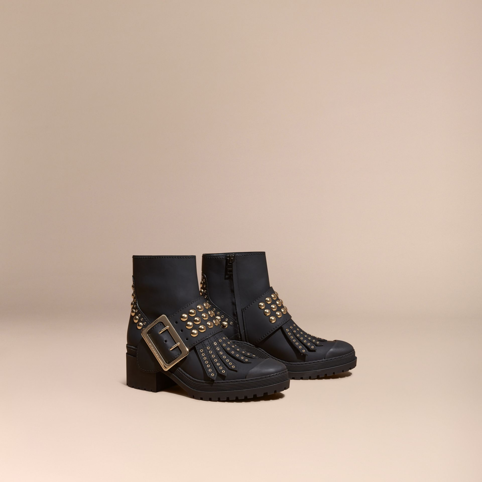 Noir Bottines The Buckle en cuir caoutchouté - photo de la galerie 1