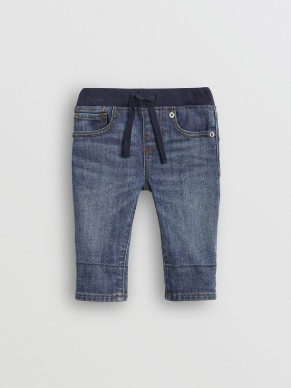 Relaxed Fit Pull-on Stretch Denim Jeans in Mid Indigo
