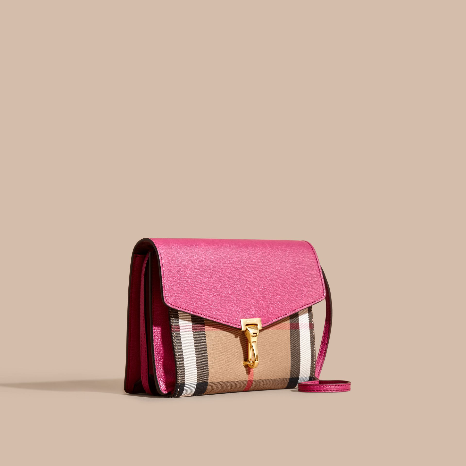 Brilliant fuchsia Small Leather and House Check Crossbody Bag - gallery image 1