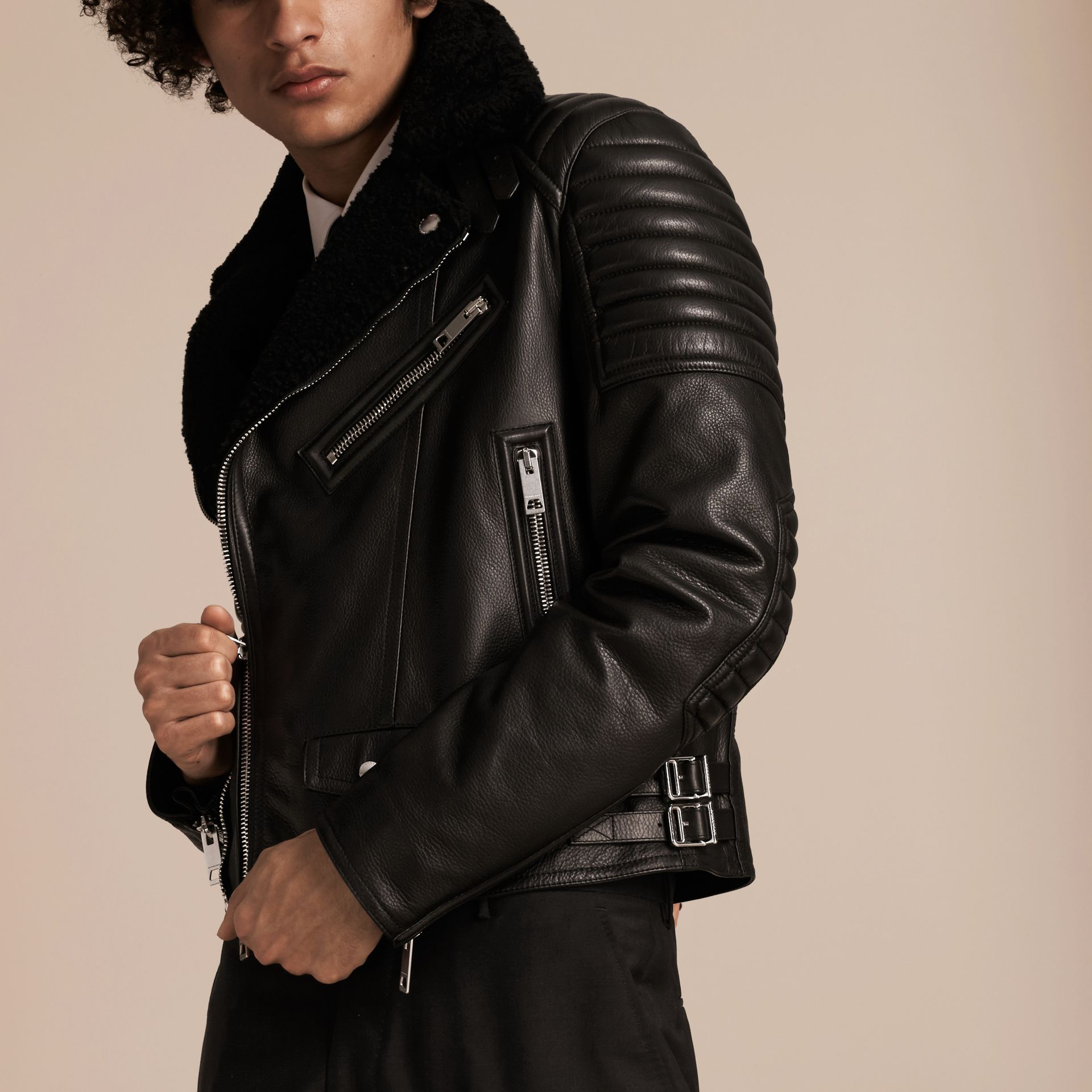 Black Shearling-lined Leather Biker Jacket - gallery image 6