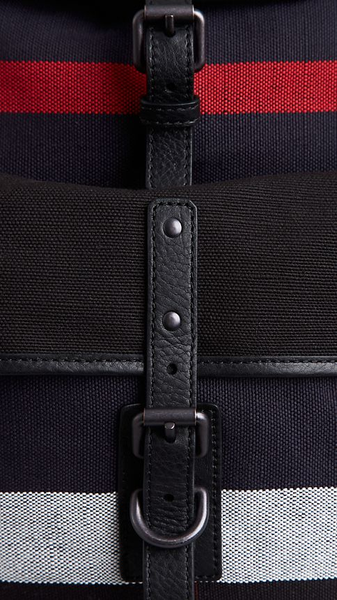 Navy Canvas Check Backpack - Image 6