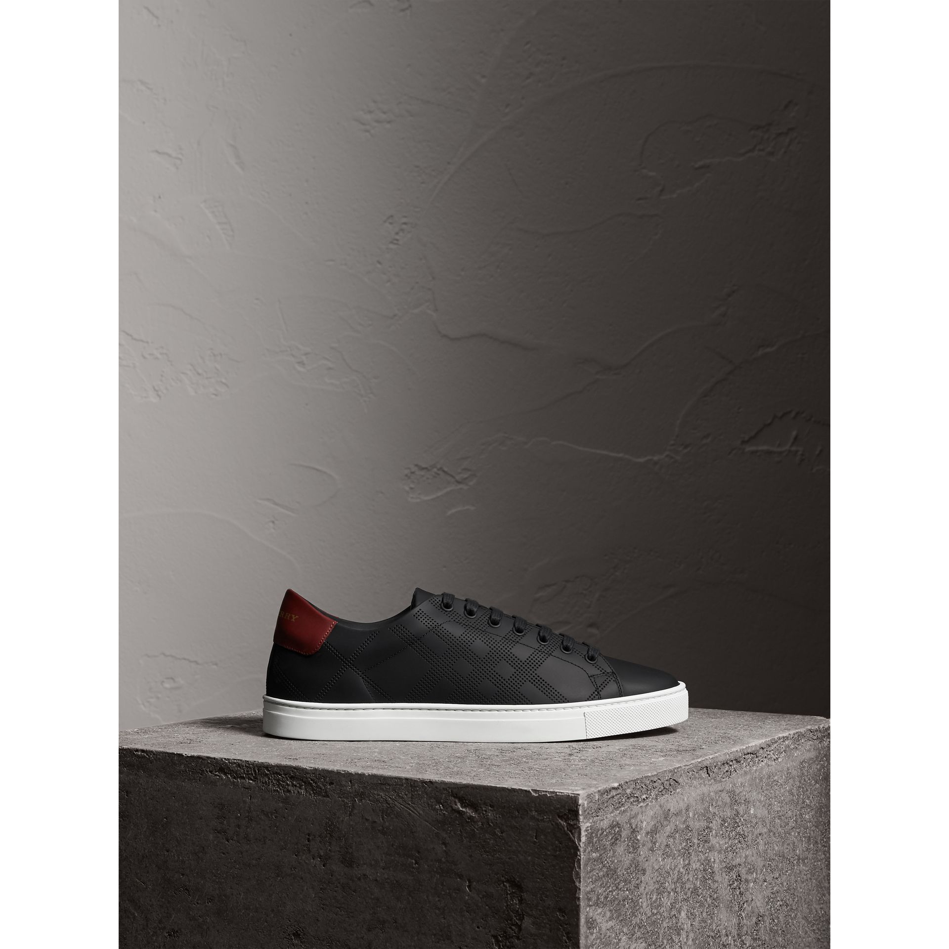 Perforated Check Leather Trainers in Black/deep Claret Melange - Men | Burberry - gallery image 3