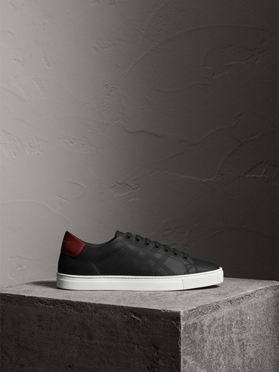 Perforated Check Leather Trainers in Black/deep Claret Melange - Men | Burberry - cell image 3
