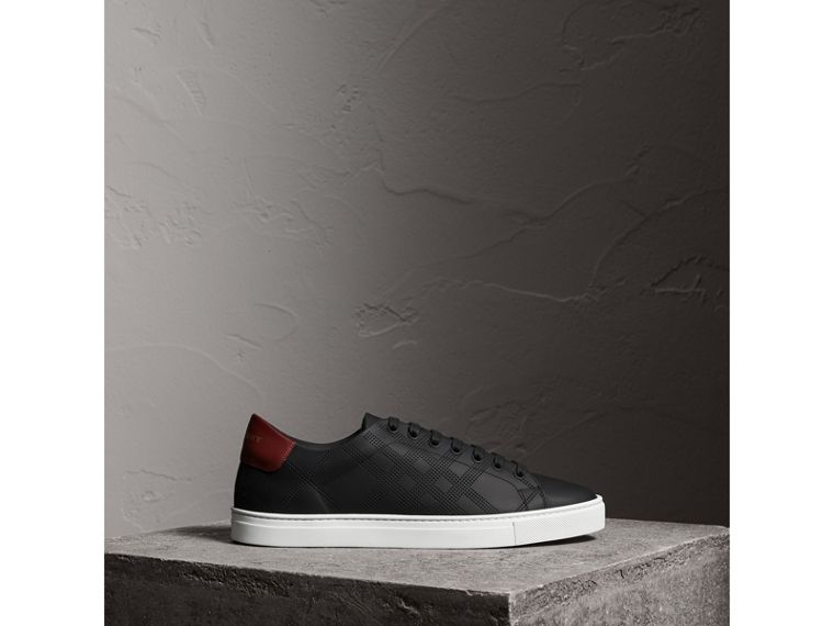 Perforated Check Leather Sneakers in Black - Men | Burberry United Kingdom - cell image 4