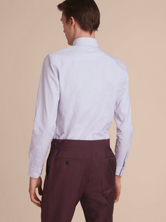 Slim Fit Striped Geometric Dobby Cotton Shirt in Pale Sky Blue - Men | Burberry Singapore - cell image 2