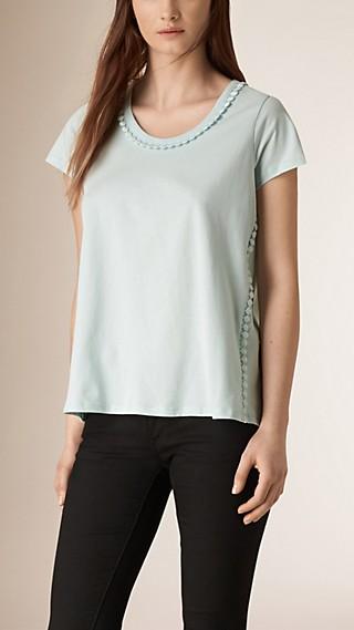 T-shirt en lin avec petits pompons