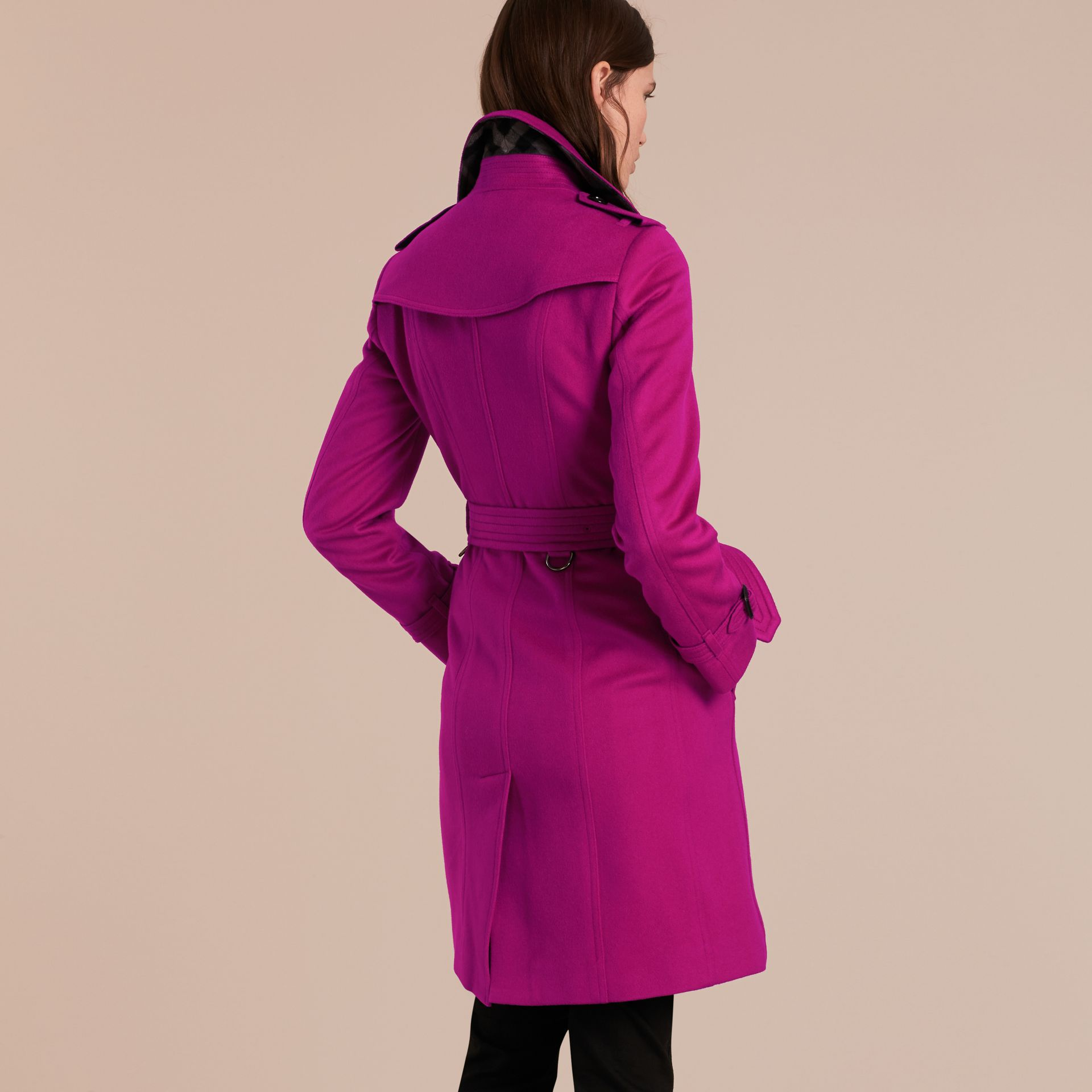 Sandringham Fit Cashmere Trench Coat Fuchsia - gallery image 3