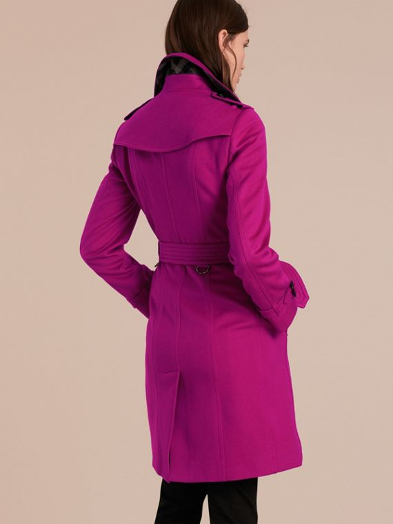 Sandringham Fit Cashmere Trench Coat Fuchsia - cell image 2
