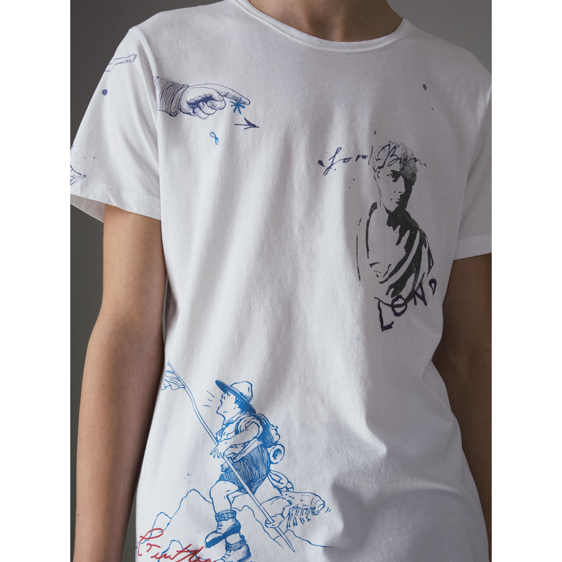 Sketch Print Cotton T-shirt in White - Men | Burberry Hong Kong - gallery image 1