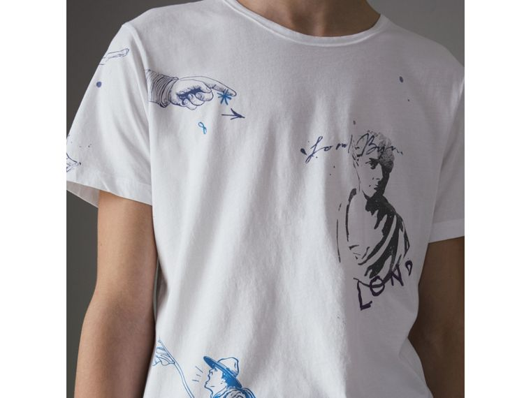 Sketch Print Cotton T-shirt in White - Men | Burberry - cell image 1