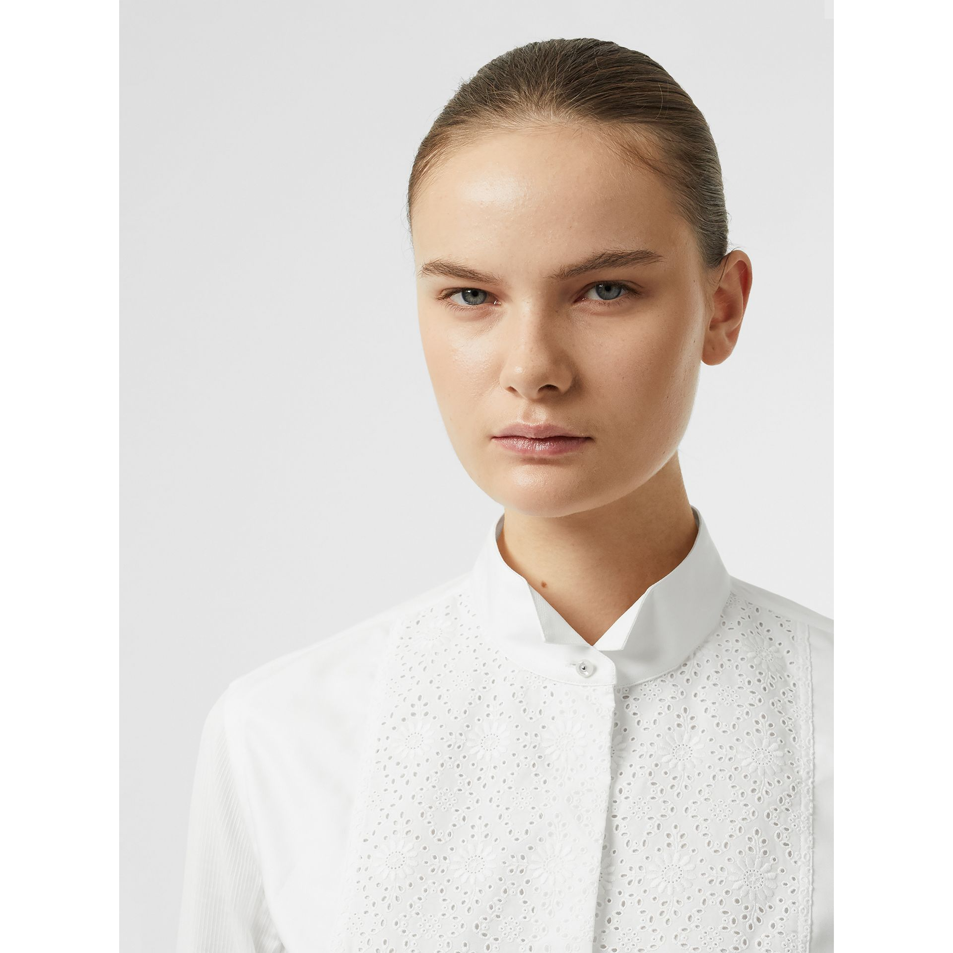 Floral Bib Silk Cotton Shirt in White - Women | Burberry - gallery image 1