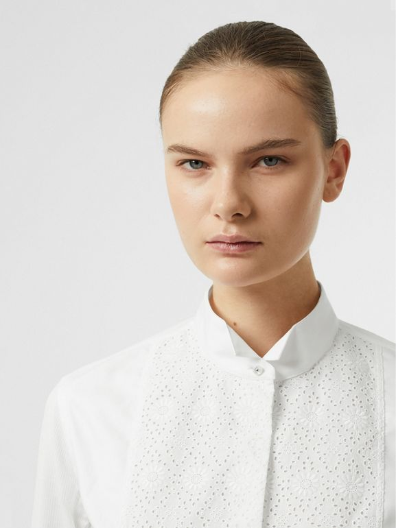 Floral Bib Silk Cotton Shirt in White - Women | Burberry - cell image 1