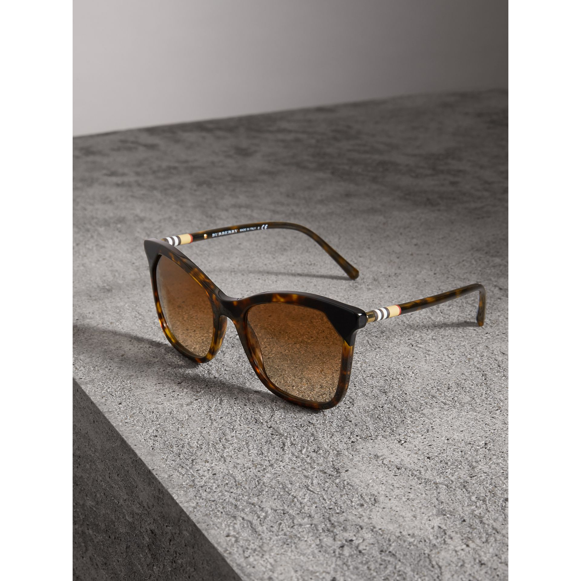 Tortoiseshell Square Frame Sunglasses in Brown - Women | Burberry - gallery image 3