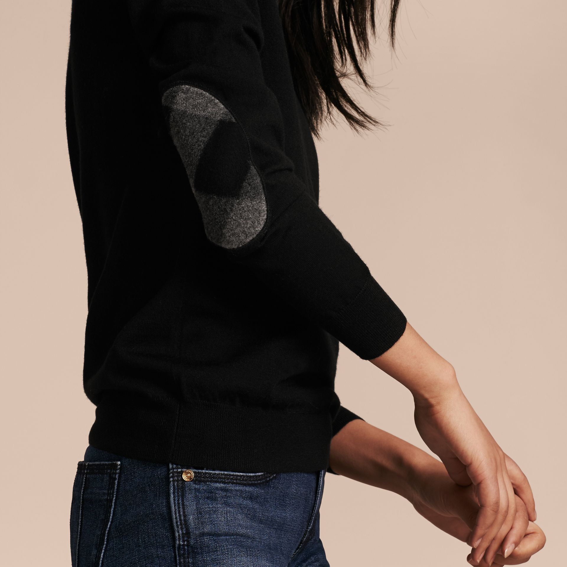 Check Detail Merino Wool Crew Neck Sweater in Black - gallery image 6