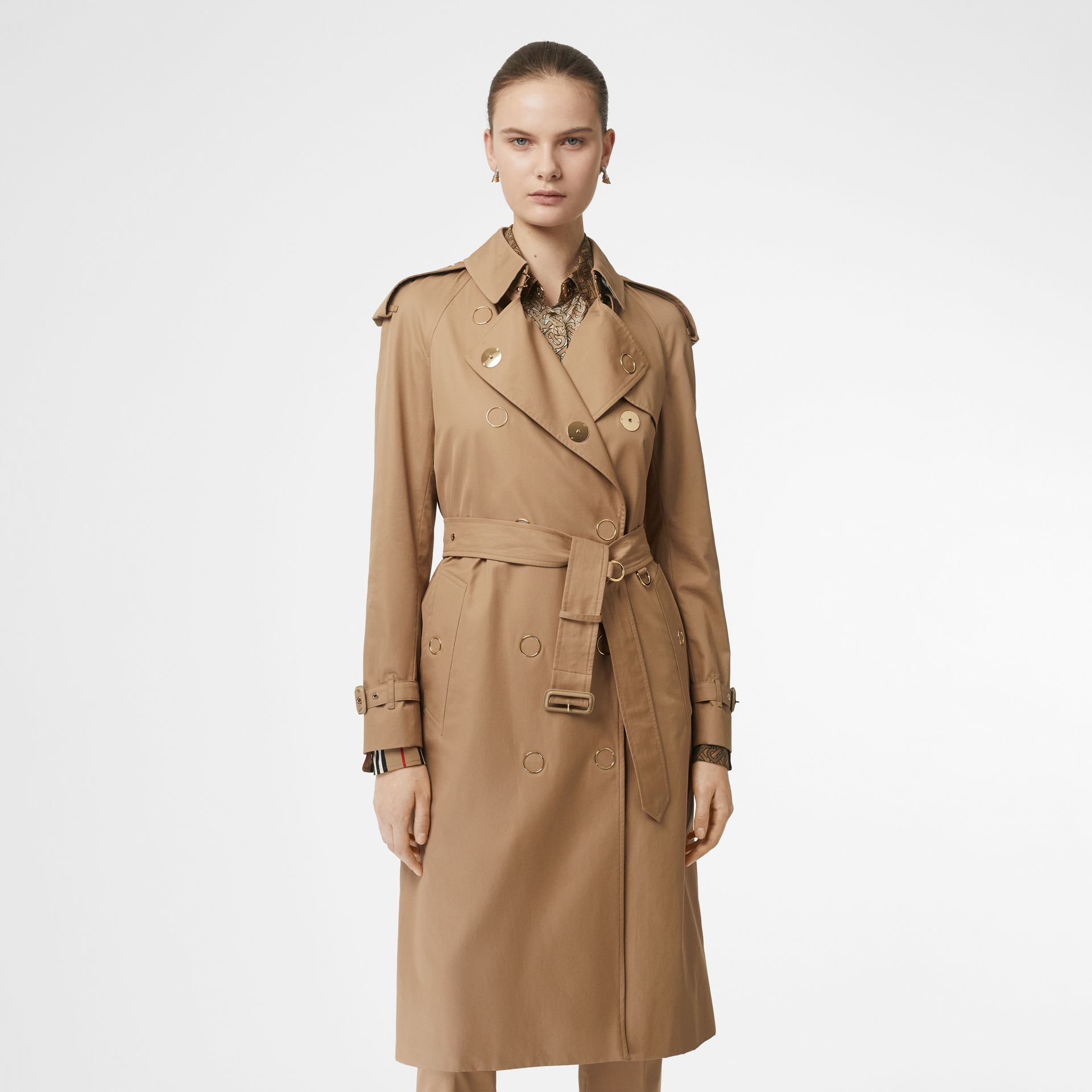 Press-stud Detail Cotton Gabardine Trench Coat in Driftwood - Women | Burberry - gallery image 6