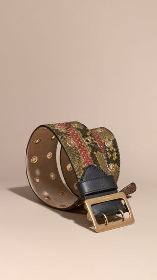 Striped Snakeskin Waist Belt