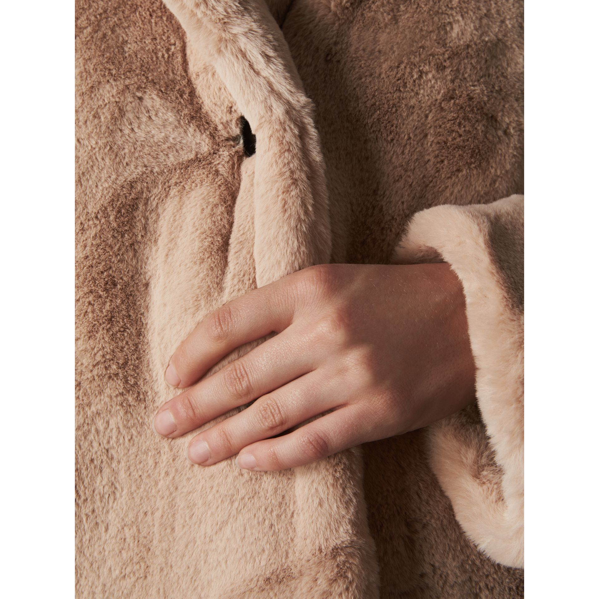 Faux Fur Single-breasted Car Coat in Nude - Women | Burberry - gallery image 5