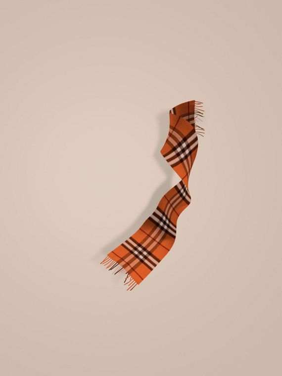 The Mini Classic Cashmere Scarf in Check Burnt Orange