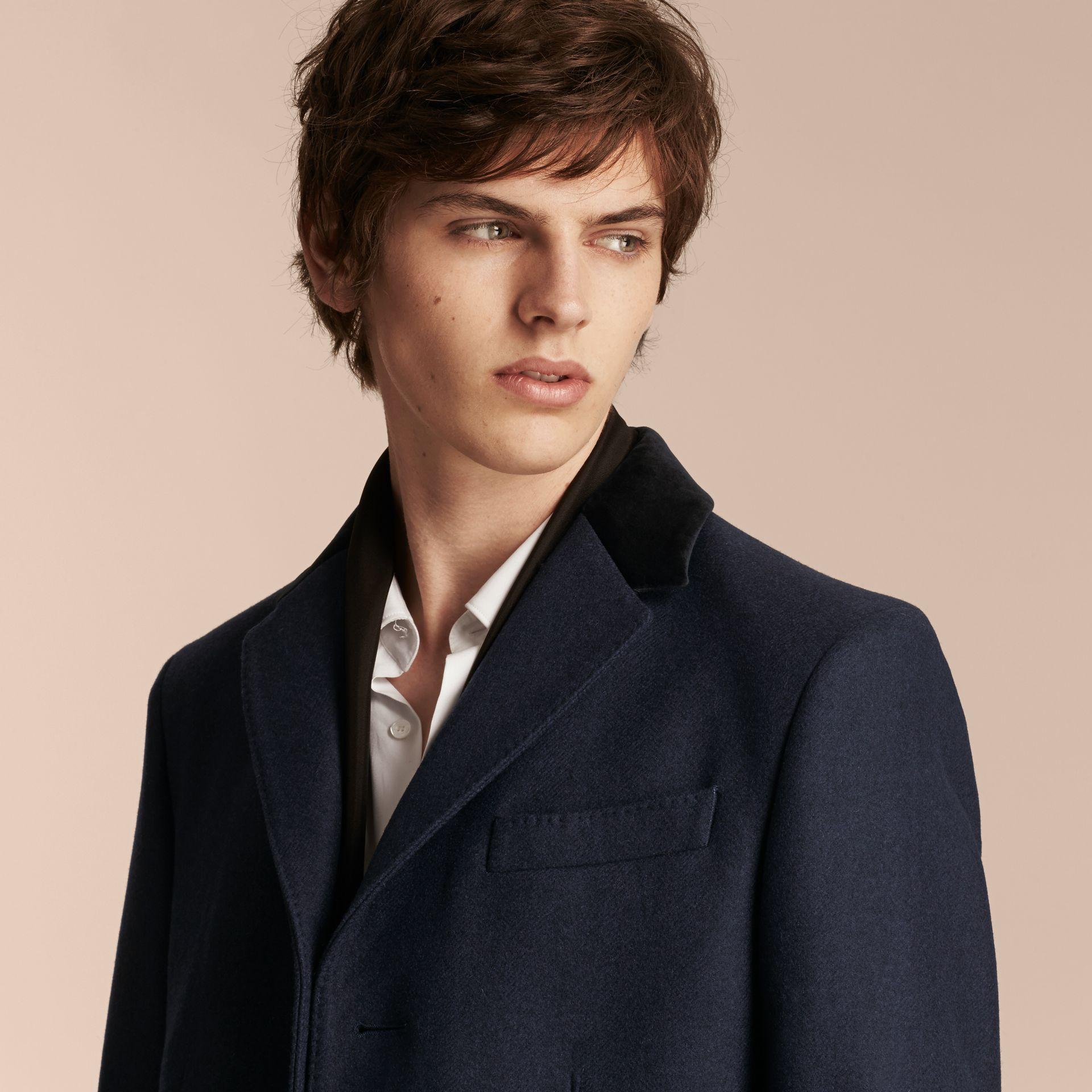 Storm blue Wool Cashmere Coat with Velvet Collar - gallery image 5