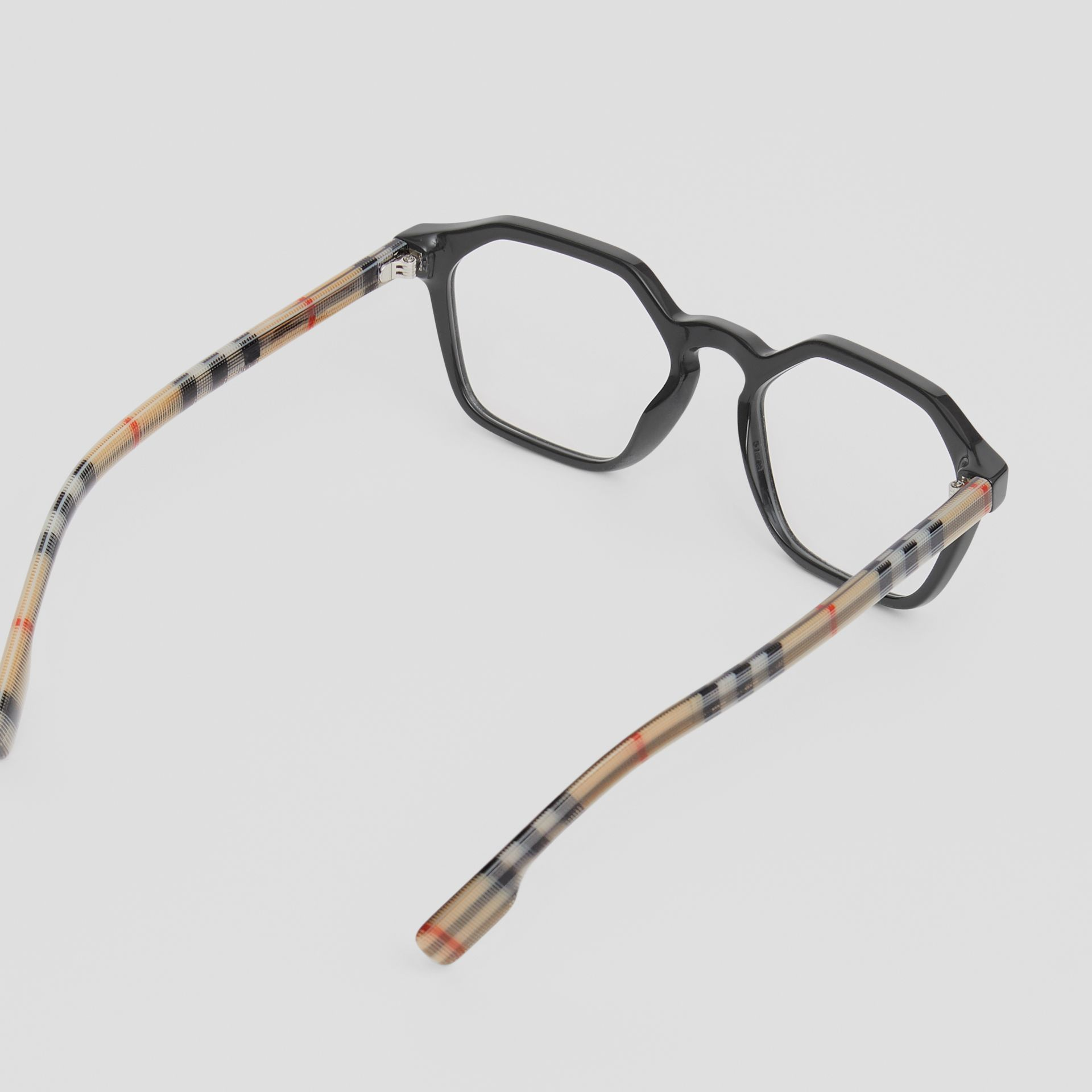 Vintage Check Detail Geometric Optical Frames in Black - Women | Burberry United Kingdom - gallery image 3