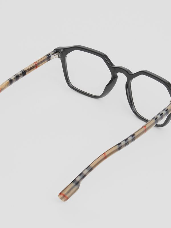 Vintage Check Detail Geometric Optical Frames in Black - Women | Burberry United Kingdom - cell image 3