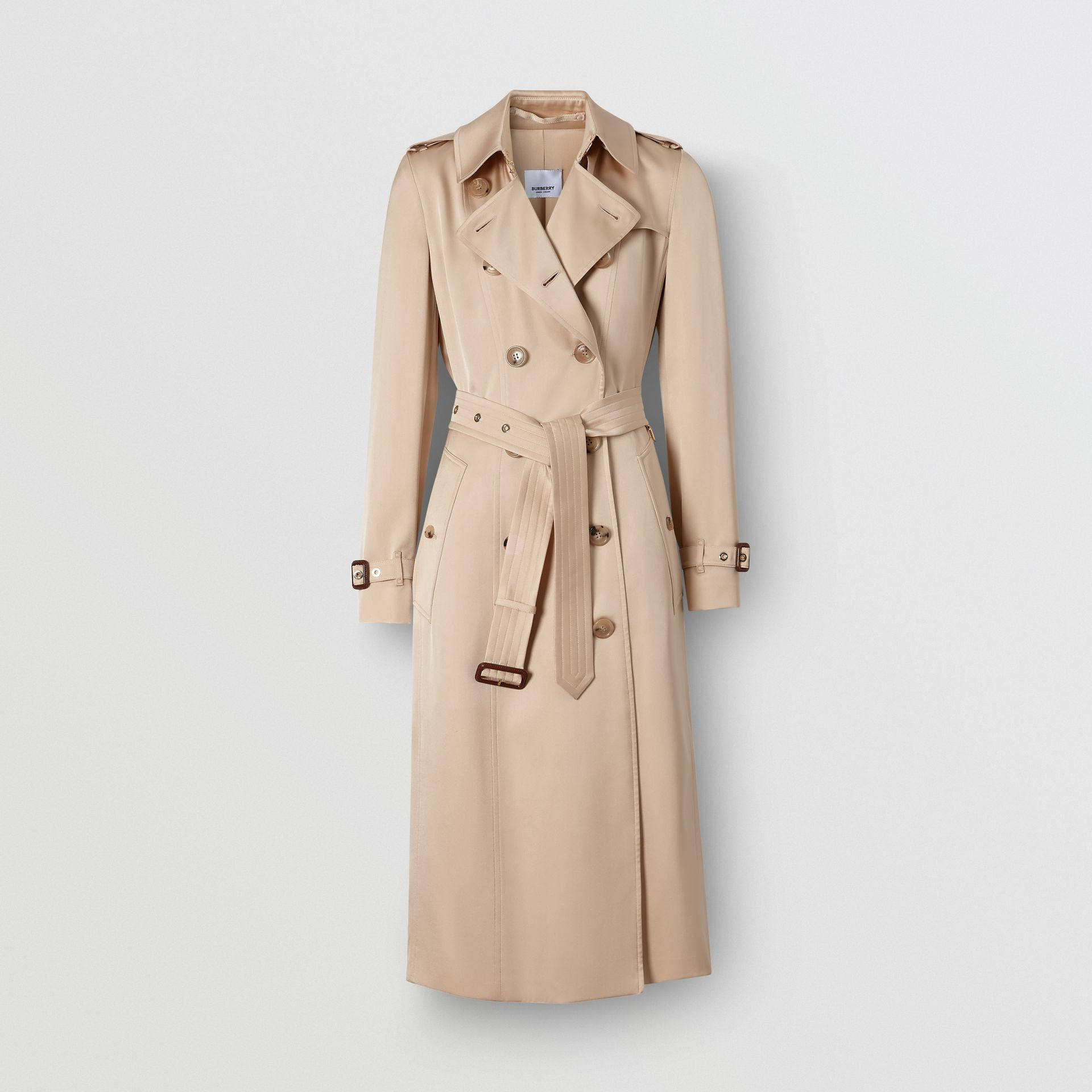 Silk Satin Trench Coat in Pale Blush - Women | Burberry - gallery image 3