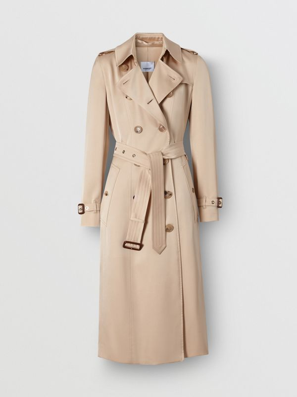 Silk Satin Trench Coat in Pale Blush - Women | Burberry - cell image 3