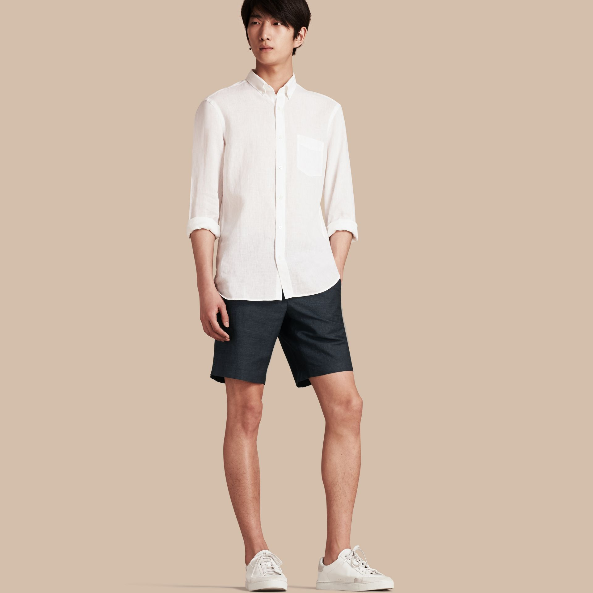 Navy Linen Cotton Tailored Shorts - gallery image 1