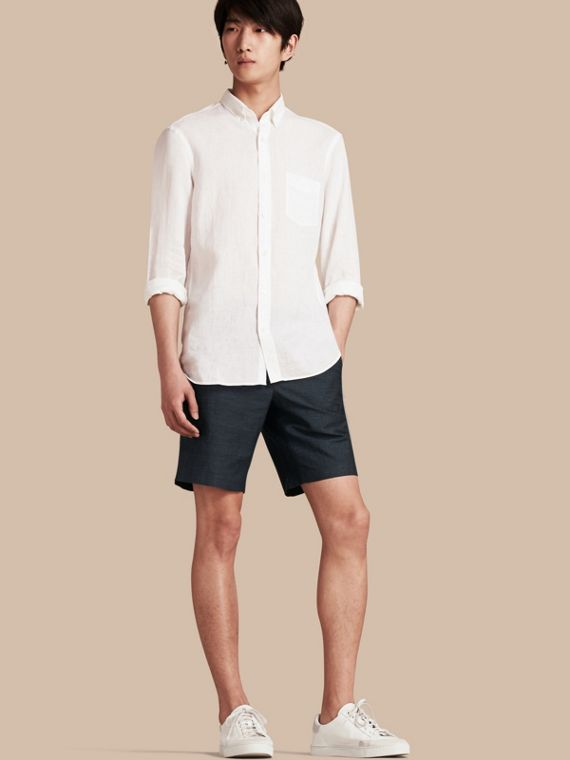 Linen Cotton Tailored Shorts