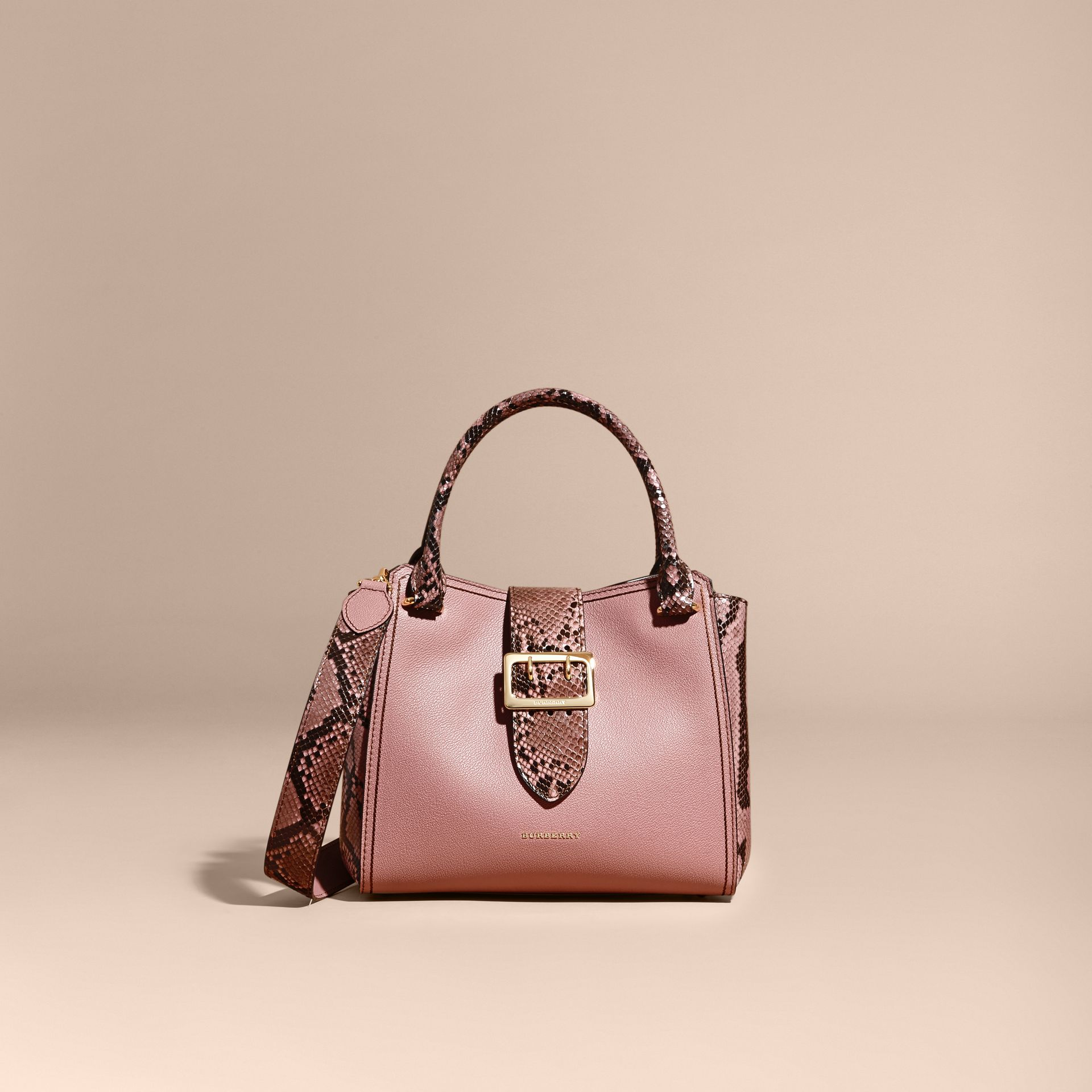 Dusty pink The Medium Buckle Tote in Grainy Leather and Python - gallery image 9
