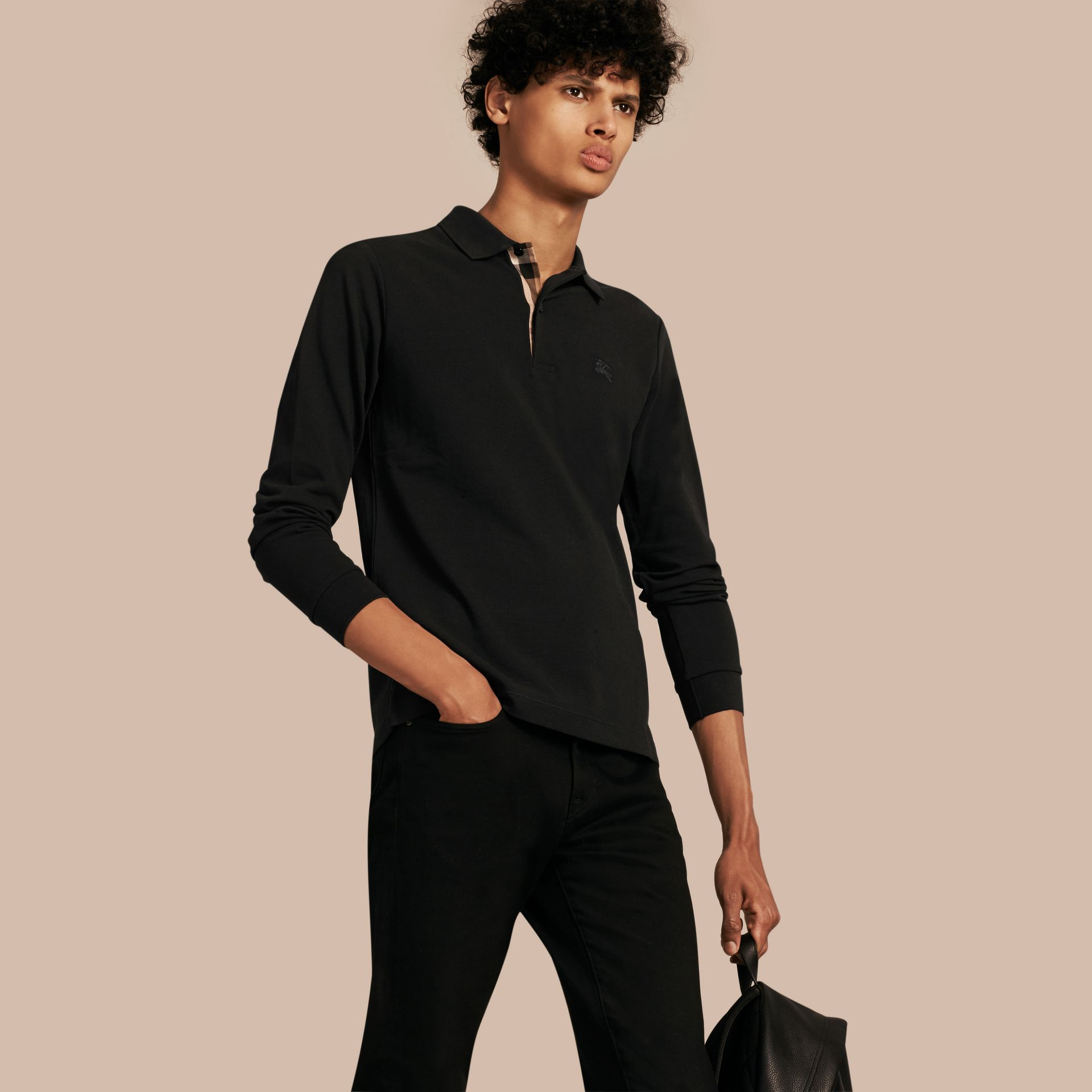 Check Placket Long Sleeve Polo Shirt in Black - Men | Burberry Canada - gallery image 1