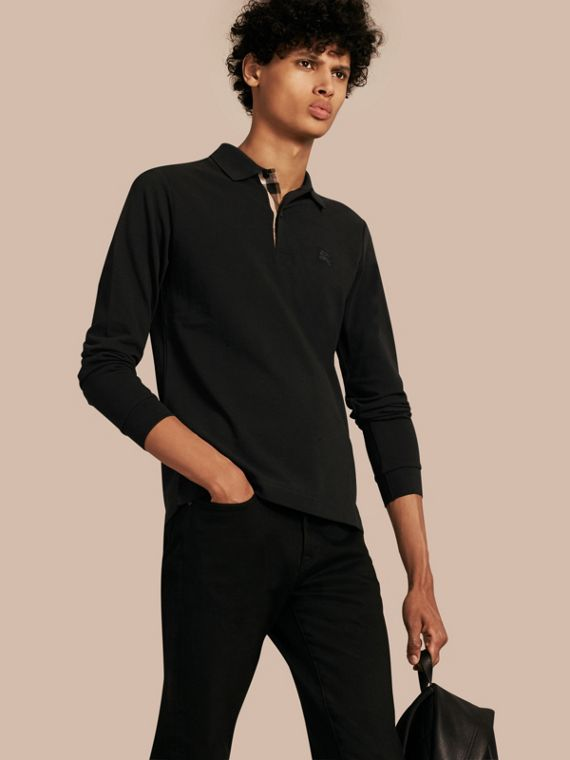 Check Placket Long Sleeve Polo Shirt Black