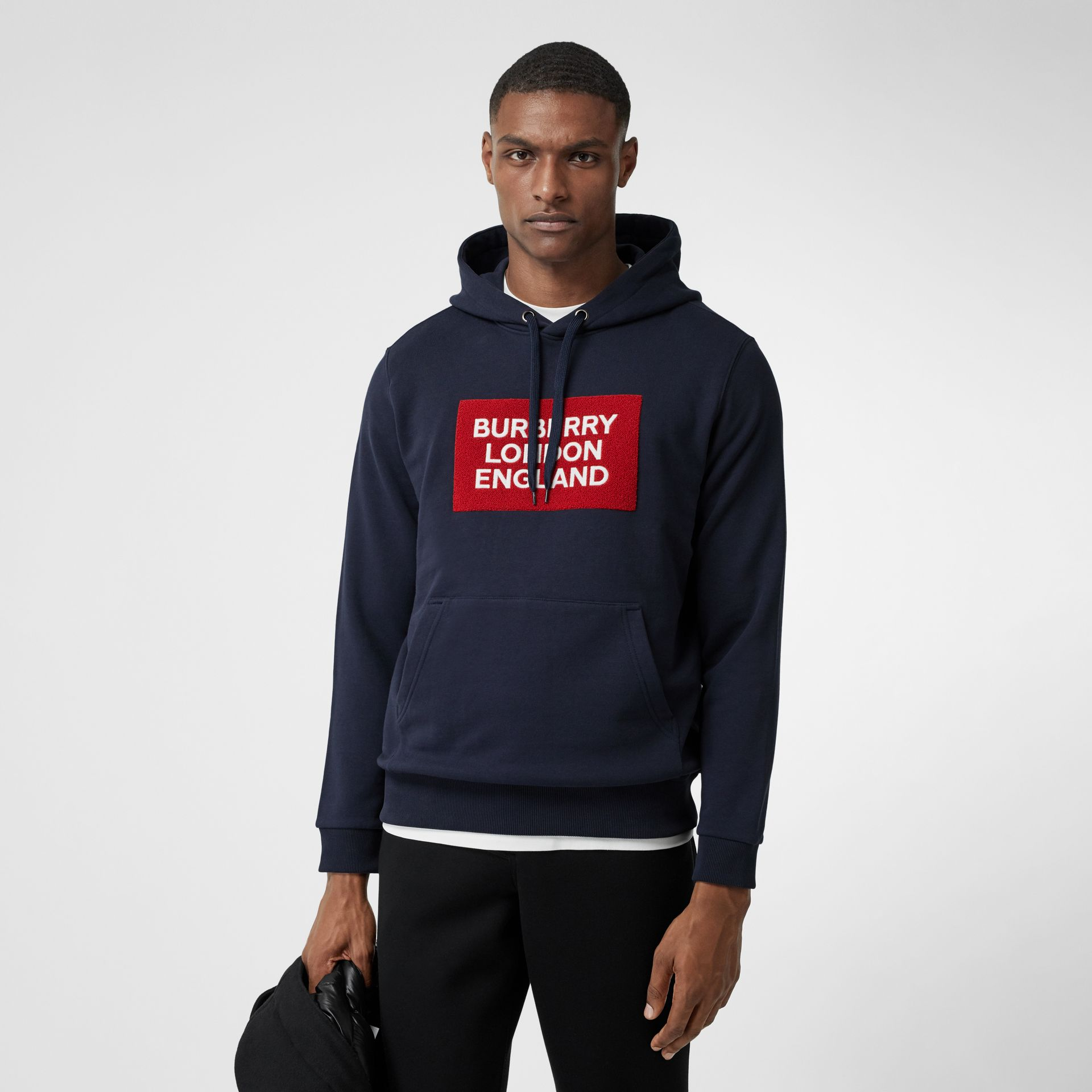 Logo Appliqué Cotton Hoodie in Navy - Men | Burberry - gallery image 3