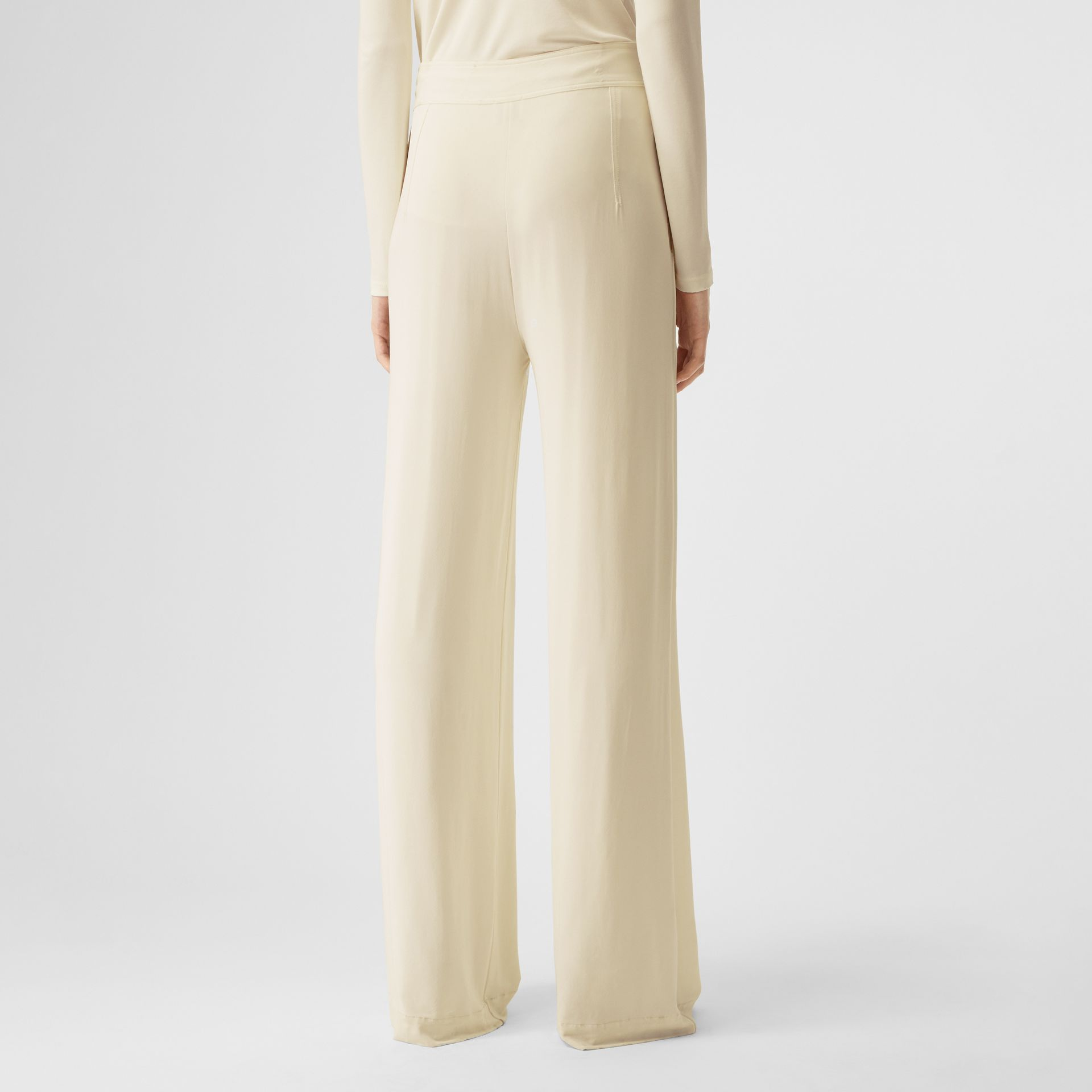 Jersey Wide-leg Trousers in Off White - Women | Burberry - gallery image 2