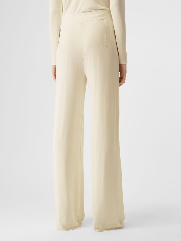 Jersey Wide-leg Trousers in Off White - Women | Burberry - cell image 2