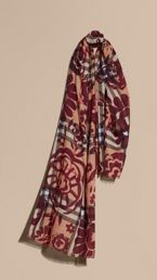 Floral Print Check Wool Silk Scarf