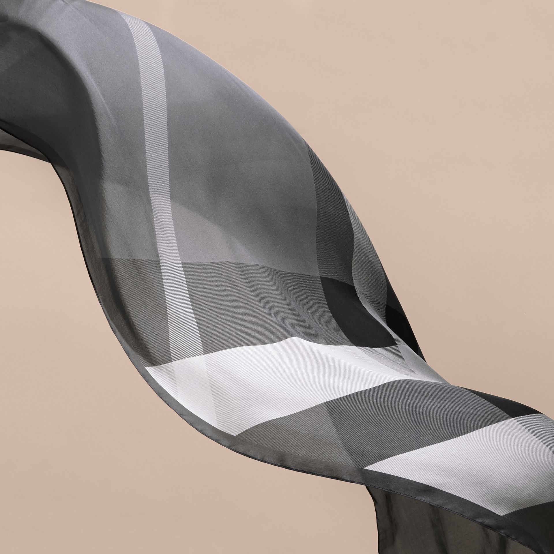 Ombré Washed Check Silk Scarf Mid Grey - gallery image 4