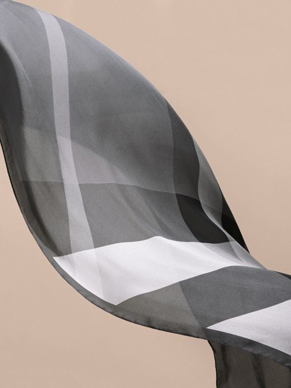 Ombré Washed Check Silk Scarf in Mid Grey - cell image 3