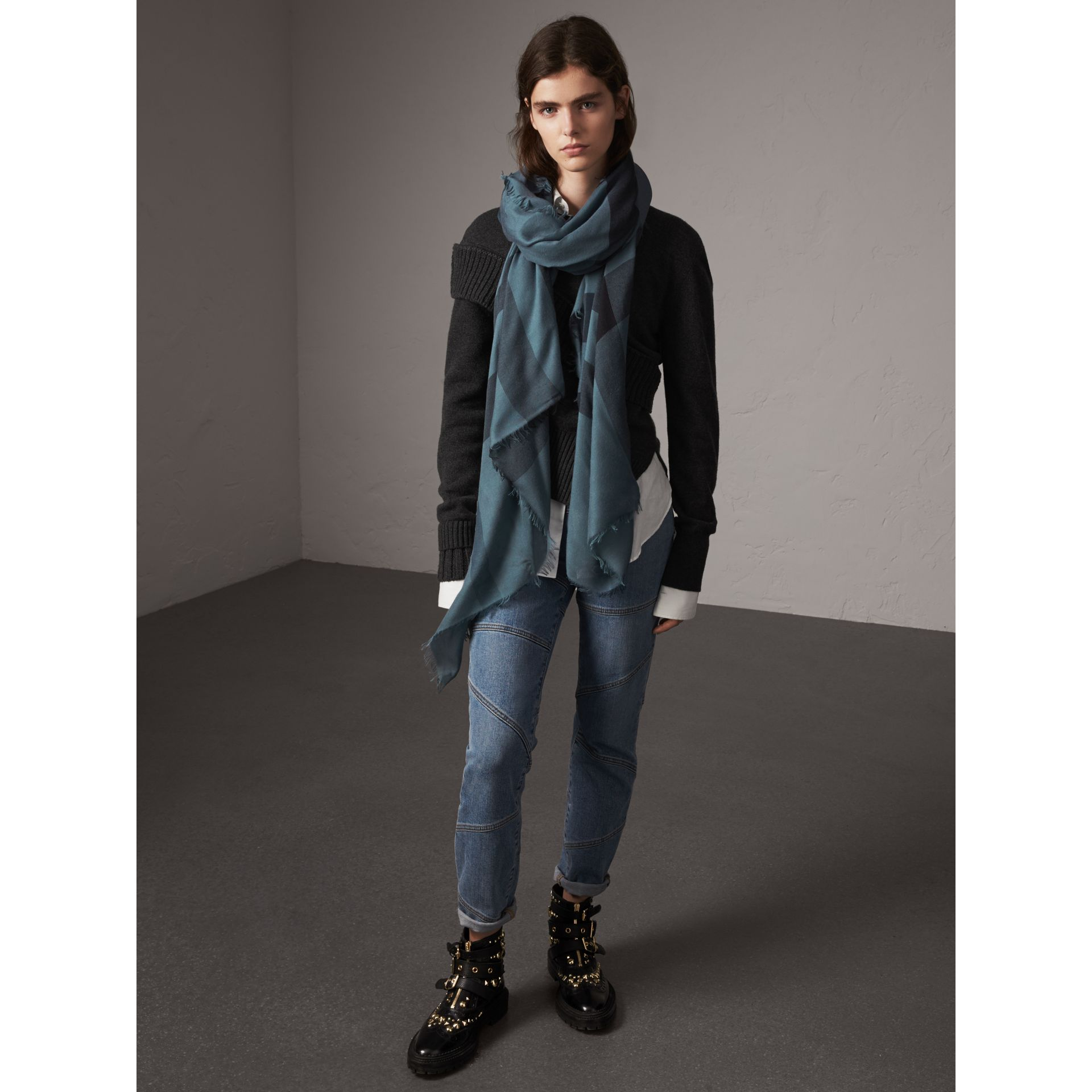 Check Modal Wool Scarf in Dusty Blue - Women | Burberry Australia - gallery image 3