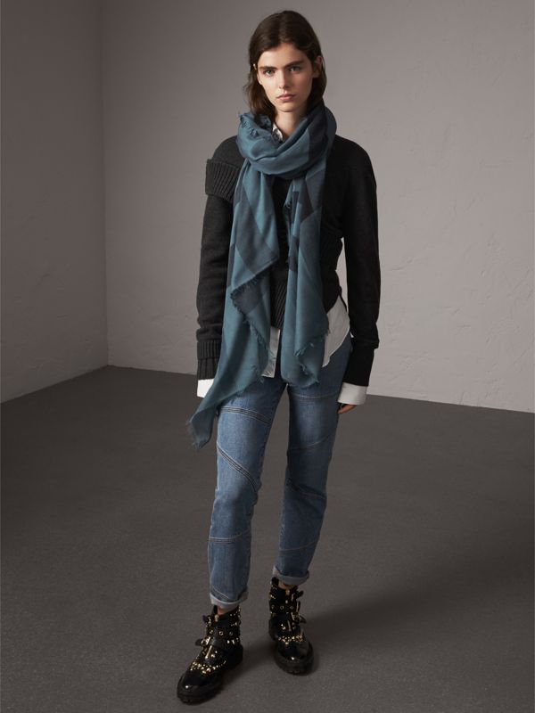 Check Modal Wool Scarf in Dusty Blue - Women | Burberry Australia - cell image 3