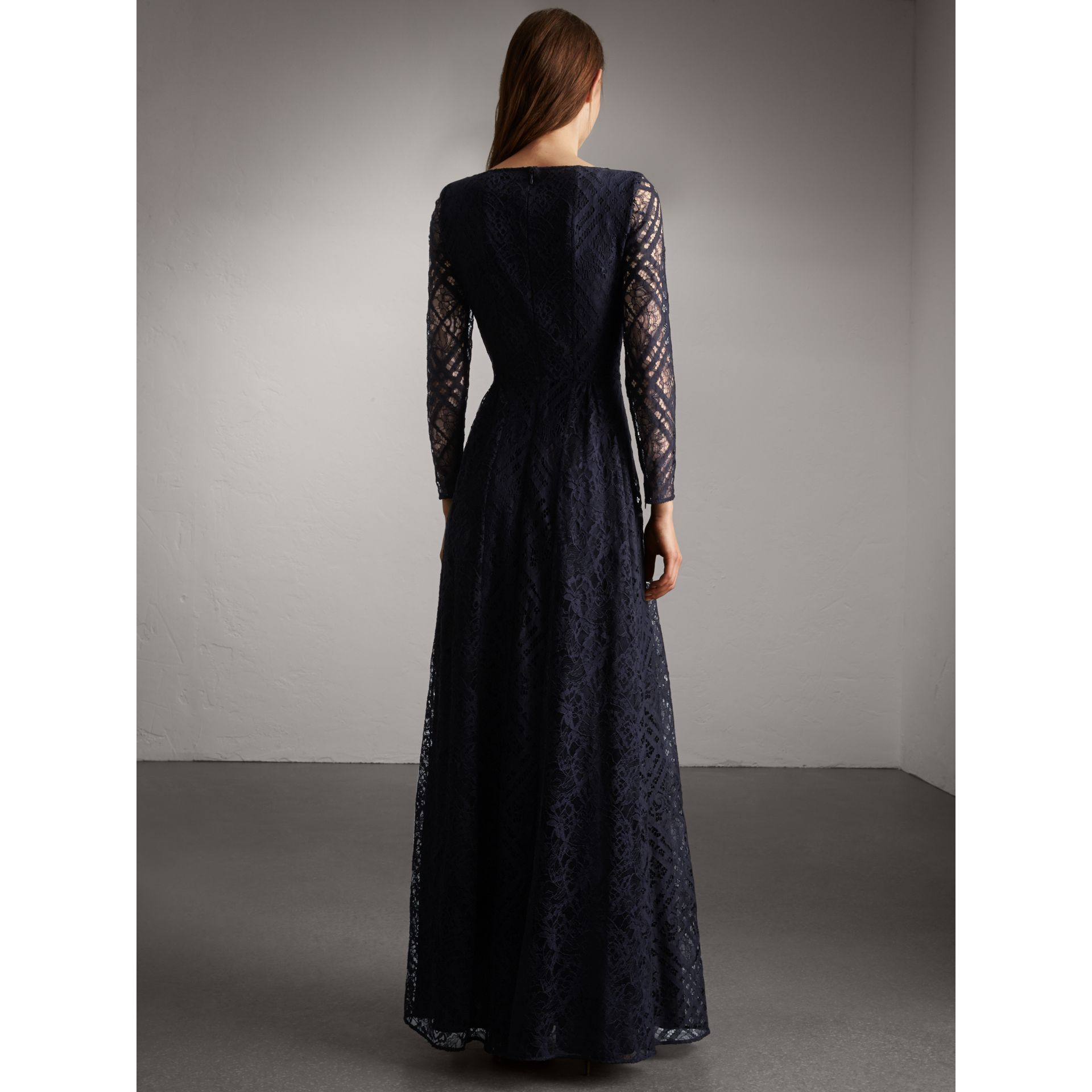 Check Lace Floor-length Dress in Navy - Women | Burberry - gallery image 3