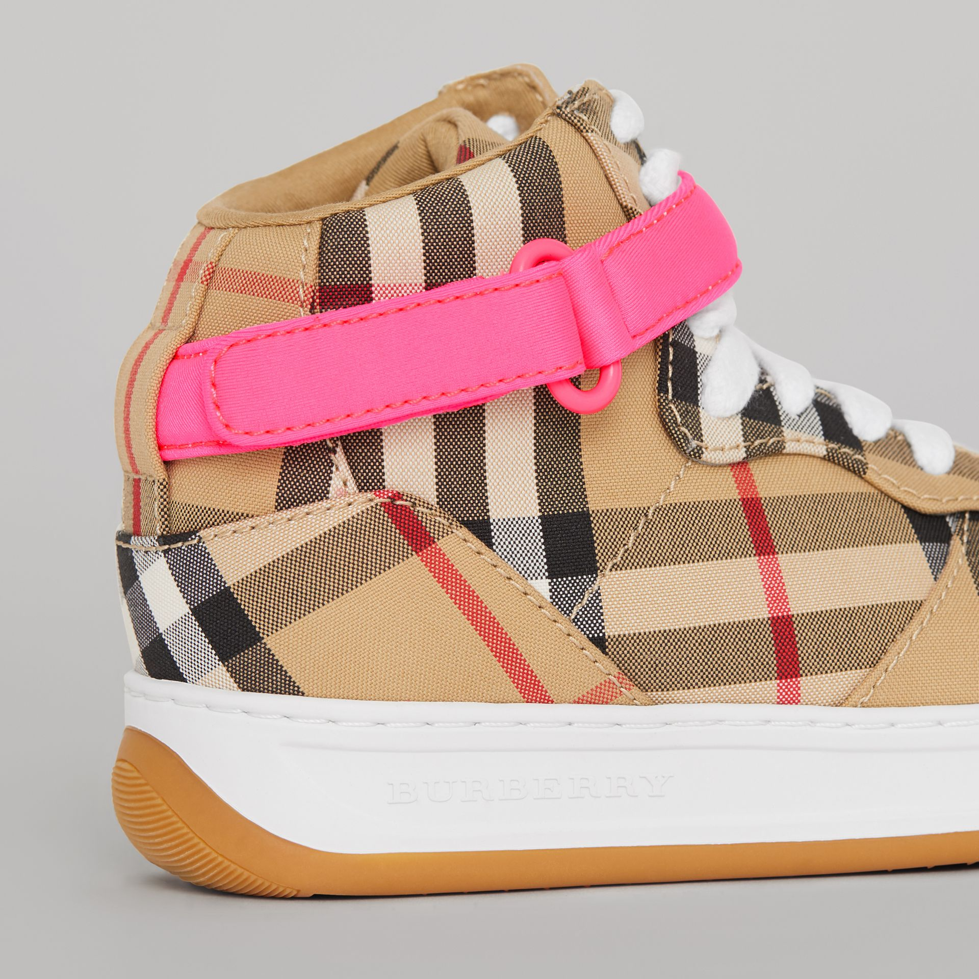 Vintage Check High-top Sneakers in Antique Yellow/neon Pink | Burberry Canada - gallery image 1