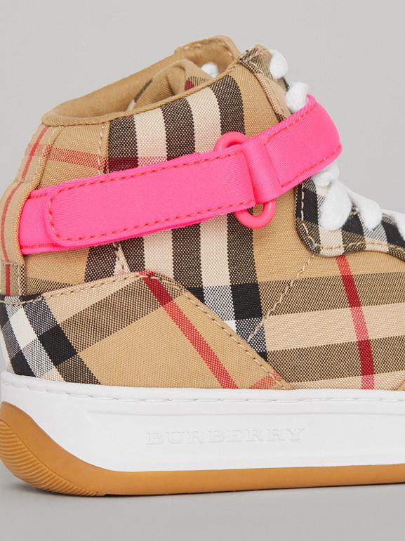 Vintage Check High-top Sneakers in Antique Yellow/neon Pink | Burberry - cell image 1
