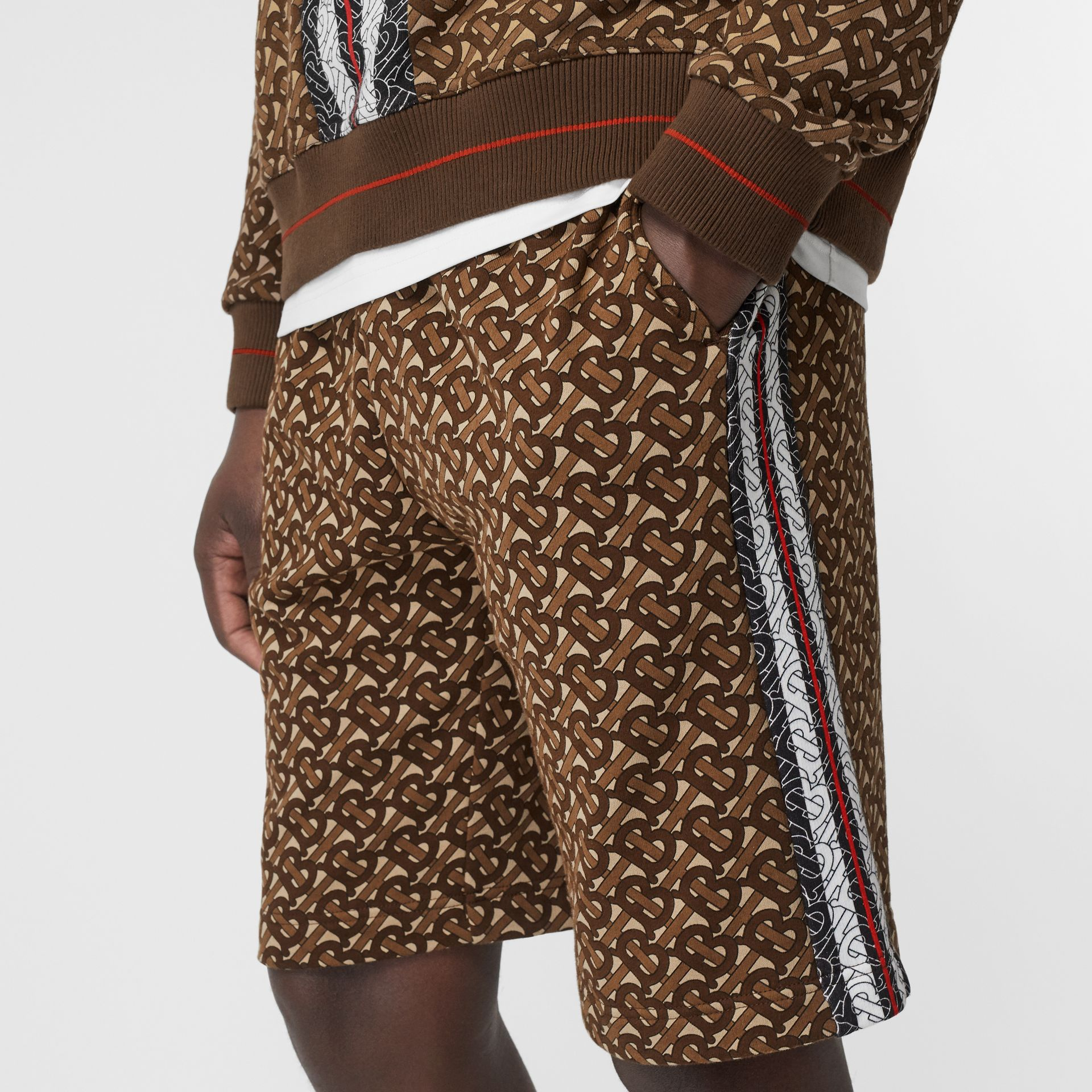 Monogram Stripe Print Cotton Drawcord Shorts in Bridle Brown - Men | Burberry - gallery image 1